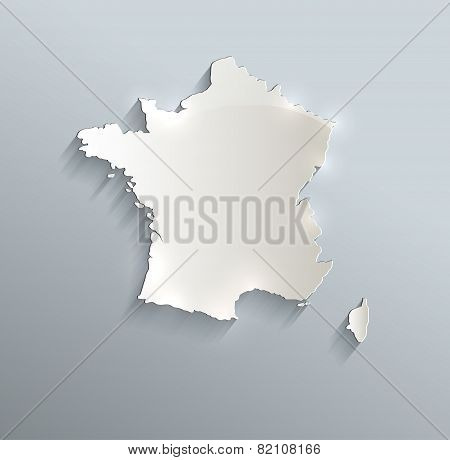 France map blue white card paper 3D raster