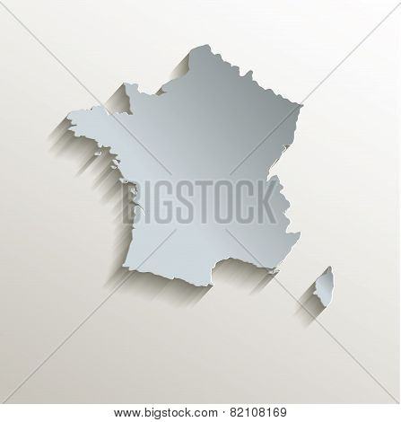 France map white blue card paper 3D raster