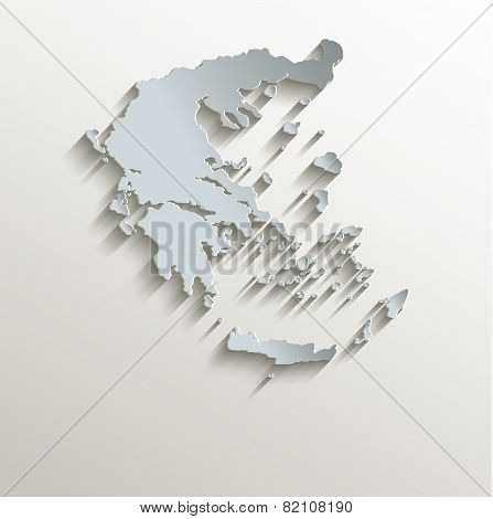Greece map white blue card paper 3D raster