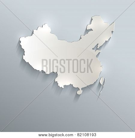 China map blue white card paper 3D raster