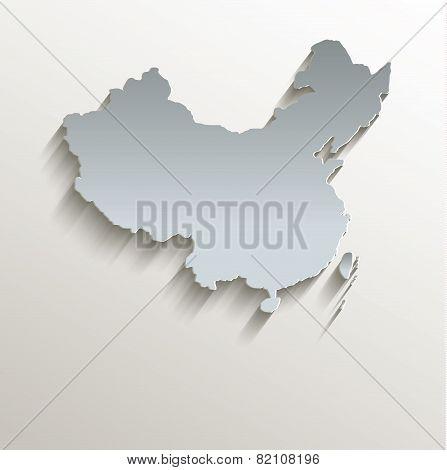 China map white blue card paper 3D raster
