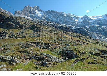 Rocky Meadow And Peaks Nearby Grindelwald In Switzerland