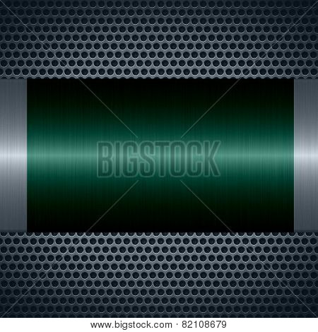 Teal metallic texture with holes metal plate background