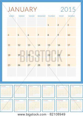 Calendar 2015 Vector Flat Design Template. Set Of 12 Months. Week Starts Sunday