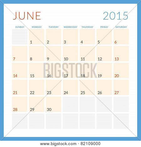 Calendar 2015 Vector Flat Design Template. June. Week Starts Sunday
