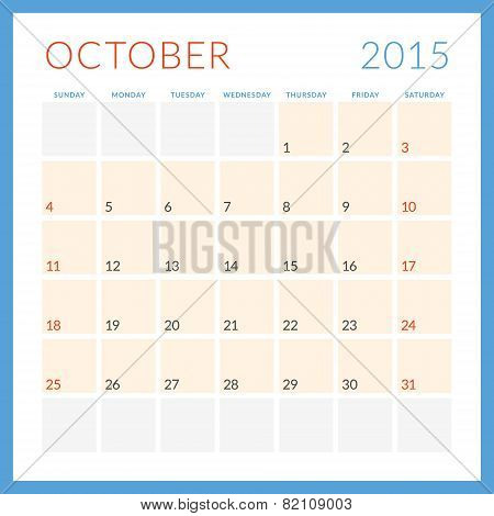 Calendar 2015 Vector Flat Design Template. October. Week Starts Sunday