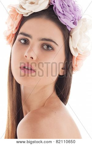 young brunette studio head shot white background