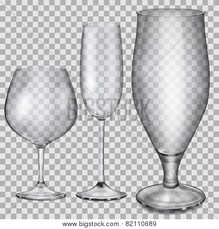 Transparent Empty Glass Goblets For Cognac, Champagne And Beer