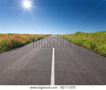Driving On An Empty Road At Sunny Day