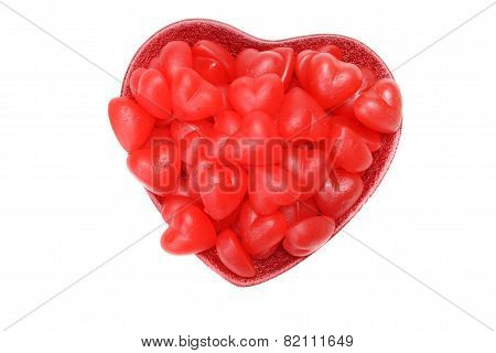 valentines red heart chewy candy in bowl