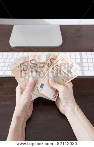 Counting Euros Banknotes On Computer