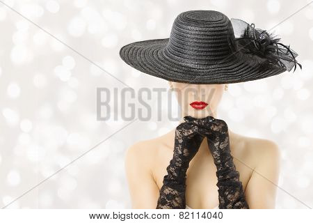 Woman In Hat And Gloves, Fashion Model Beauty Portrait, Beautiful Girl Hidden Face, Red Lips