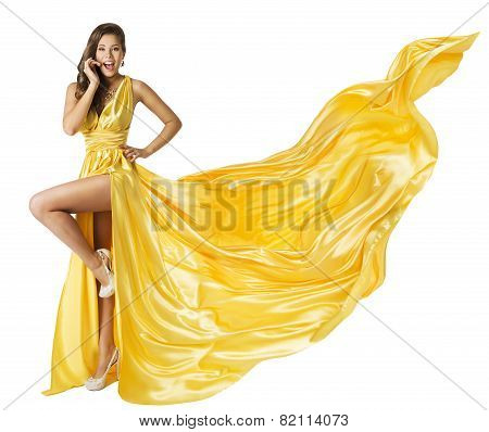 Woman Beauty Fashion Dress, Beautiful Girl In Flying Yellow Fluttering Gown, Standing On One Leg