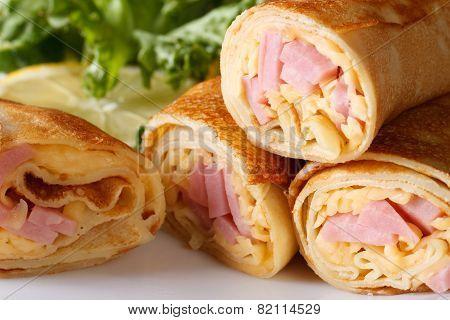 Pancakes Stuffed With Ham And Cheese Horizontal Macro