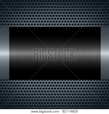 Black metallic texture with holes metal plate background