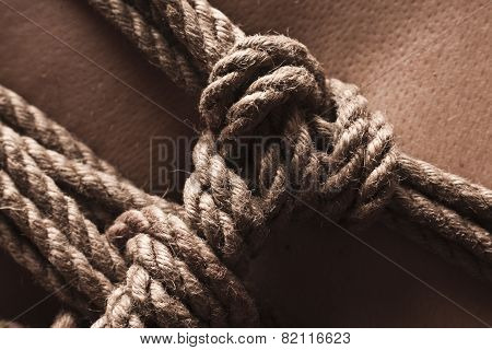 Detail Of Rope Node On Japanese Bondage Takate Kote / Bdsm Theme