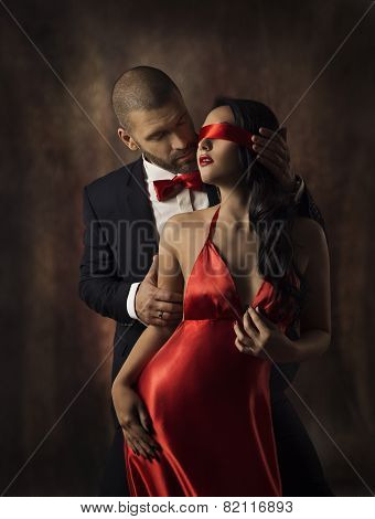 Couple In Love, Sexy Fashion Woman And Man, Girl With Red Band On Eyes Charming Boyfriend In Suit, G