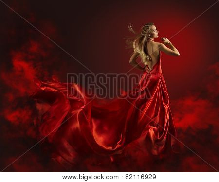 Woman In Red Dress, Lady Fantasy Gown Flying And Waving, Hair Blowing On Wind, Naked Back Portrait