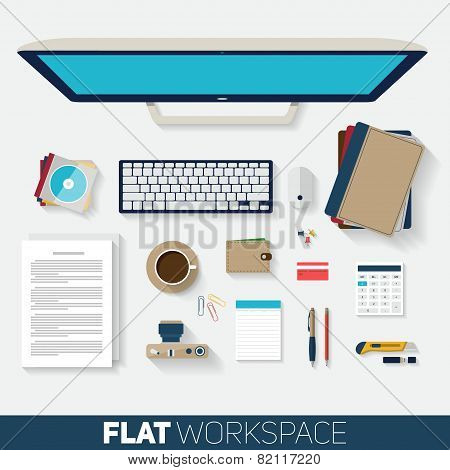 Flat Design Vector Illustration Of Office Workspace. Top View Of Desk Background With Computer, Offi