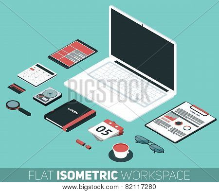 Modern Flat Isometric Design Vector Illustration Of Office Workspace. Desk Background With Laptop, O