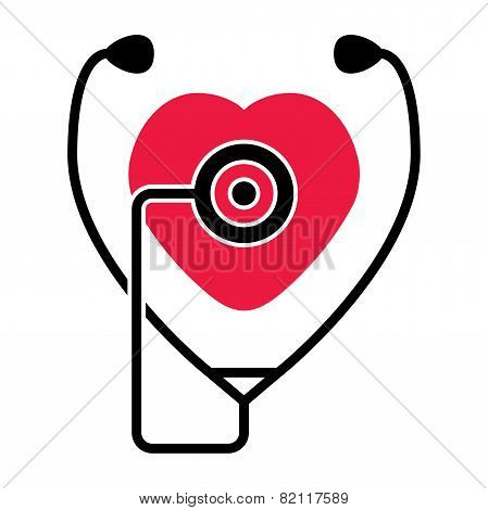 Vector Symbol Of  Heart And  Stethoscope