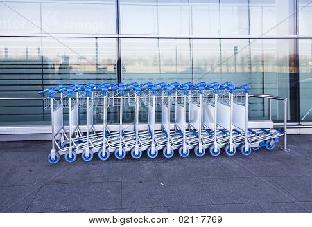 luggage carts at modern airport