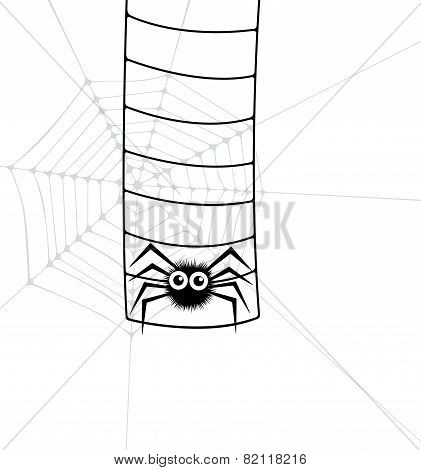Vector Illustration Of Spider And Web Ladder