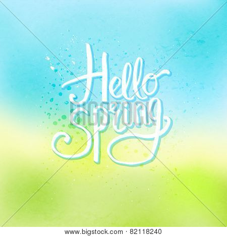 Hello Spring Concept on Abstract Cool Background