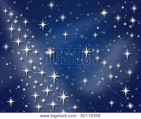 Night Sky With Snowflakes And Stars For Holiday