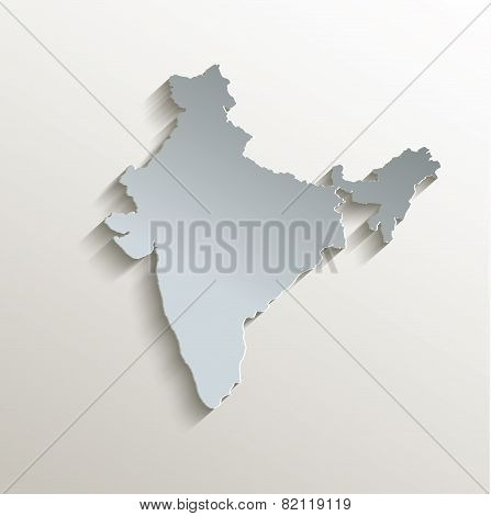 India map white blue card paper 3D raster