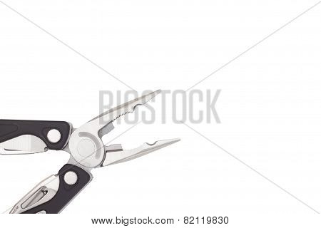 Multitool on white background