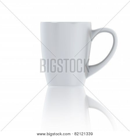 3D Illustration White Cup Of Tea Front View