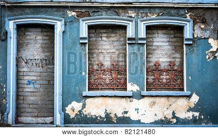 old abandoned building facade
