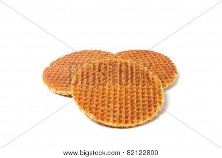 Food Waffle With Caramel