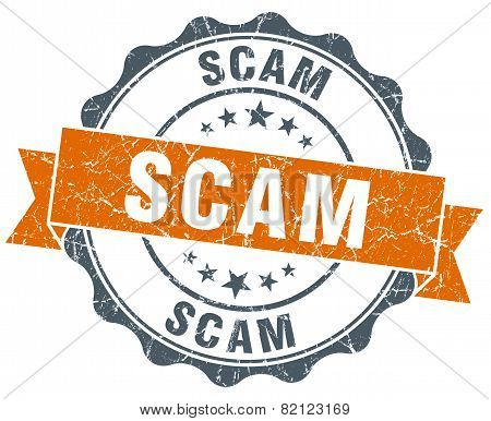Scam Vintage Orange Seal Isolated On White