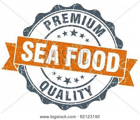 Sea Food Vintage Orange Seal Isolated On White