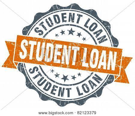 Student Loan Vintage Orange Seal Isolated On White