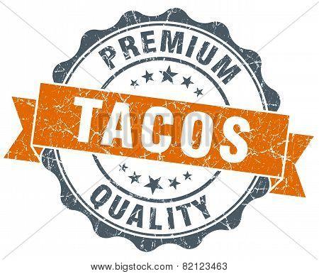 Tacos Vintage Orange Seal Isolated On White
