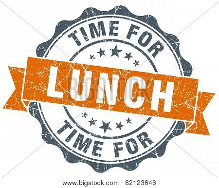 Time For Lunch Vintage Orange Seal Isolated On White