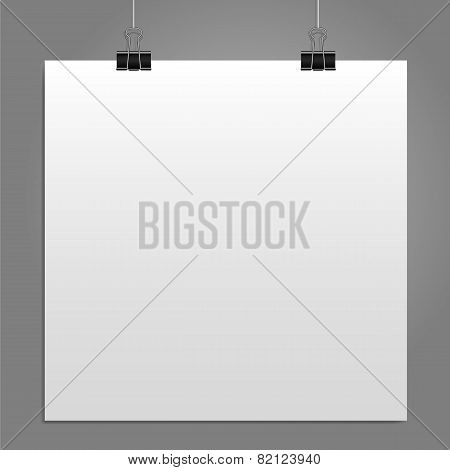 Blank square white page binder clip