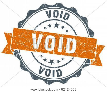 Void Vintage Orange Seal Isolated On White