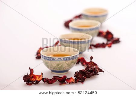Tea ceremony still life isolated on white