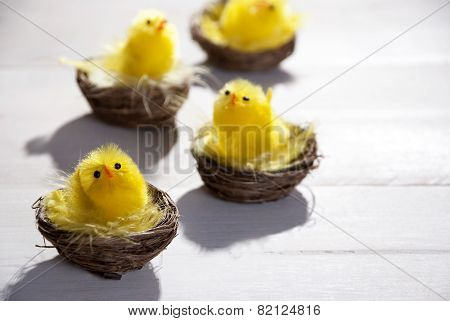 Yellow Chicks In Easter Basket Or Nest