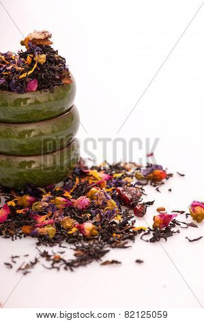 Flower tea composition isolated on white