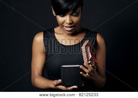 Black Woman Wondering Of A Present