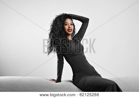 Perfect Fit Black Woman With A Curly Hair And Red Lips