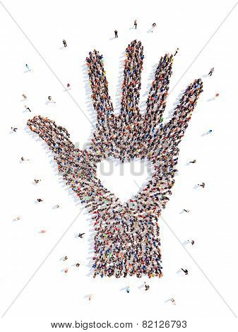 people in the form of a hand with heart.