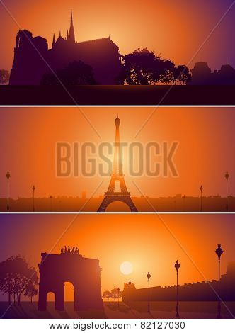 Set Of Paris France City Skyline