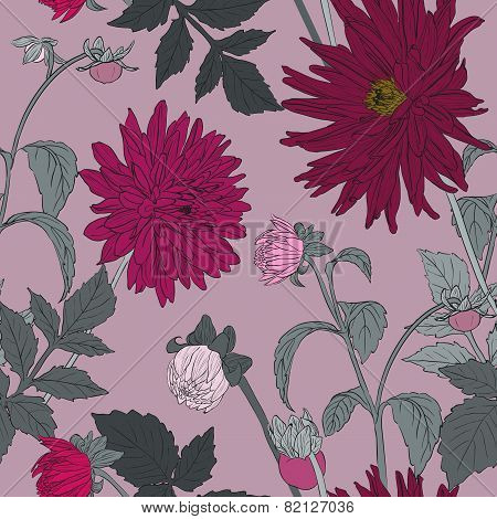 Seamless Flower Pattern With Garden Asters