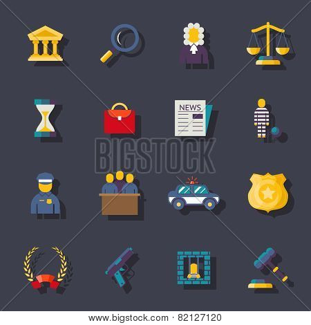 Flat law icons set